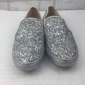 Women's 7.5 silver glitter loafers